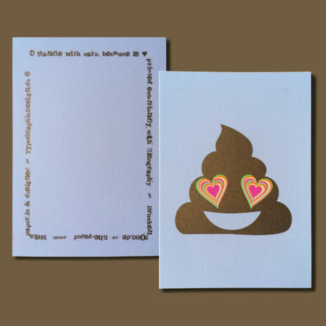 PRINT_Postcard_Riso_Golden-Poo-with-Neon-Heart_by-Typo-Graphic-Design