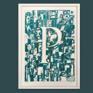 Typo-Illustration-Poster_P-Trajan_Riso-Print_by-Typo-Graphic-Design_Frame