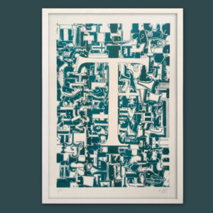 Typo-Illustration-Poster_T-Trajan_Riso-Print_by-Typo-Graphic-Design_Frame