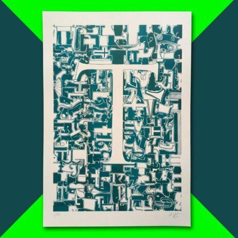 Typo Illustration Poster_T Trajan_Riso Print_by_Typo Graphic Design