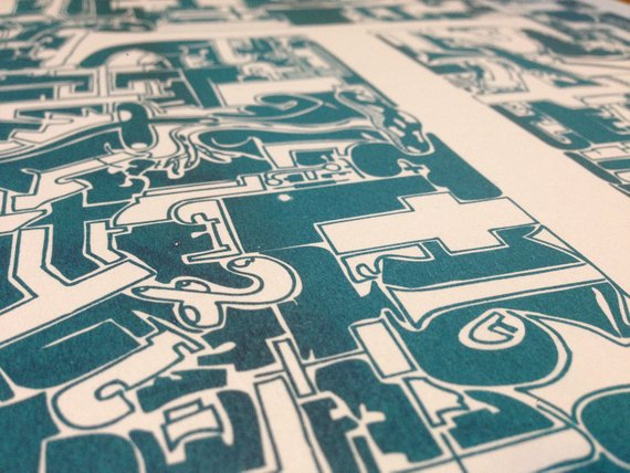Typo Illustration Poster_T Trajan_Riso Print_by_Typo Graphic Design_Close Up