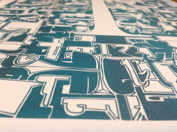Typo Illustration Poster_T Trajan_Riso Print_by_Typo Graphic Design_Close Up_2