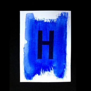Original Handmade Print_Postcard_aquarelle_water color Letter-H_Blue_Stamp_Black_5999