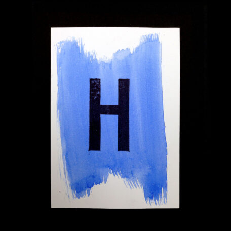 Original Handmade Print_Postcard_aquarelle_water color Letter-H_Light Blue _Stamp_Black_5999