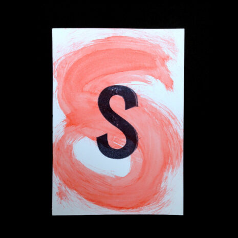 Original Handmade Print_Postcard_aquarelle_water color Letter-S_Light Red_Stamp_Black__5999