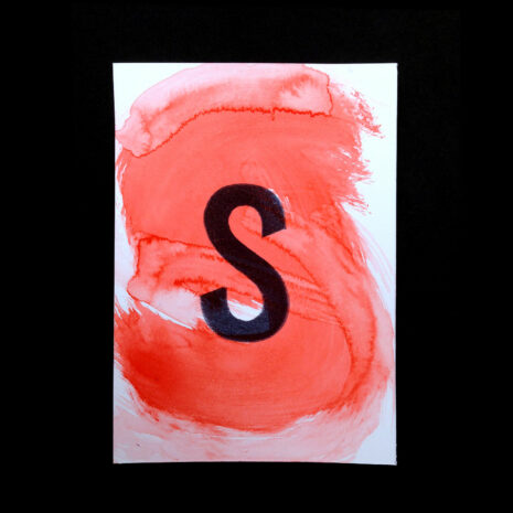 Original Handmade Print_Postcard_aquarelle_water color Letter-S_Red_Stamp_Black_5999