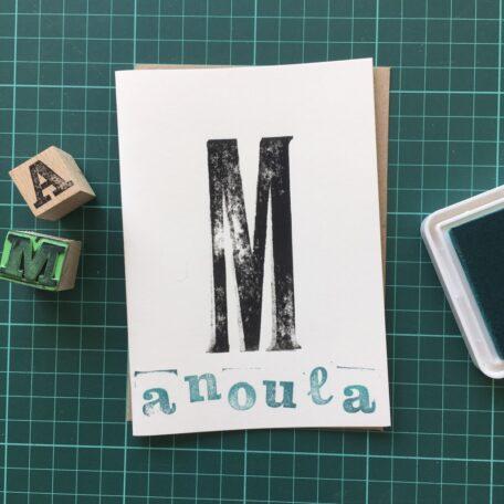 Folding Card | Mothers Day | Manoula Greek | Hand Stamped | ORIGINAL PRINT