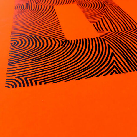 A4 | Wood DIY | Neon Orange O | Close Up | Original Print