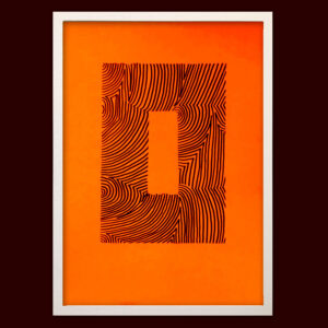 A4 | Wood DIY | Neon Orange O | Original Print