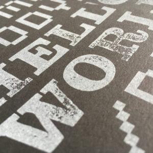 HTML-World_Riso-Print_White-on-Black_A5_Typo-Graphic-Design_Detail